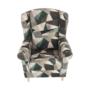 Kép 17/19 - ASTRID Füles fotel puffal,  szövet barna-zöld minta