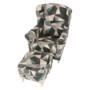 Kép 18/19 - ASTRID Füles fotel puffal,  szövet barna-zöld minta