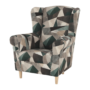 Kép 4/15 - CHARLOT Füles fotel,  szövet barna-zöld minta