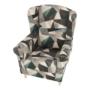 Kép 5/15 - CHARLOT Füles fotel,  szövet barna-zöld minta