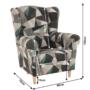 Kép 6/15 - CHARLOT Füles fotel,  szövet barna-zöld minta