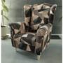 Kép 7/15 - CHARLOT Füles fotel,  szövet barna-zöld minta