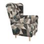 Kép 14/15 - CHARLOT Füles fotel,  szövet barna-zöld minta