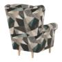 Kép 15/15 - CHARLOT Füles fotel,  szövet barna-zöld minta
