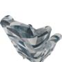 Kép 3/15 - CHARLOT Füles fotel,  szövet szürke-kék minta