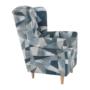 Kép 9/15 - CHARLOT Füles fotel,  szövet szürke-kék minta