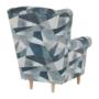 Kép 8/15 - CHARLOT Füles fotel,  szövet szürke-kék minta