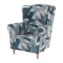 Kép 12/15 - CHARLOT Füles fotel,  szövet szürke-kék minta