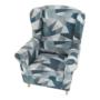 Kép 13/15 - CHARLOT Füles fotel,  szövet szürke-kék minta