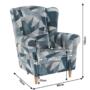 Kép 14/15 - CHARLOT Füles fotel,  szövet szürke-kék minta