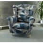 Kép 15/15 - CHARLOT Füles fotel,  szövet szürke-kék minta