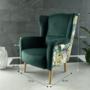 Kép 2/7 - BELEK Dizájnos fotel,  szövet smaragd/minta Jungle