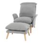 Kép 9/25 - ZANDER Fotel lábtartóval,  világosszürke/természetes
