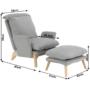 Kép 10/25 - ZANDER Fotel lábtartóval,  világosszürke/természetes