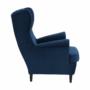 Kép 5/14 - RUFINO Füles fotel,  kék/dió