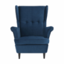 Kép 6/14 - RUFINO Füles fotel,  kék/dió