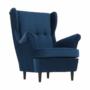 Kép 7/14 - RUFINO Füles fotel,  kék/dió