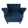 Kép 14/14 - RUFINO Füles fotel,  kék/dió