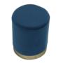 Kép 12/16 - ALAZ Puff,  kék Velvet anyag/gold króm-arany