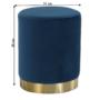 Kép 13/16 - ALAZ Puff,  kék Velvet anyag/gold króm-arany