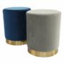 Kép 2/16 - ALAZ Puff,  kék Velvet anyag/gold króm-arany