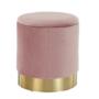 Kép 18/21 - ANIZA Puff,  rózsaszín Velvet anyag/gold króm-arany