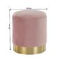 Kép 19/21 - ANIZA Puff,  rózsaszín Velvet anyag/gold króm-arany