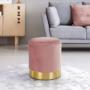Kép 21/21 - ANIZA Puff,  rózsaszín Velvet anyag/gold króm-arany