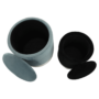 Kép 2/22 - AIGUL Két puff készlet,  szürke/ezüst króm és fekete/ezüst króm [SET]