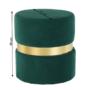 Kép 14/15 - VIZEL Puff,  smaragd Velvet anyag/arany festés