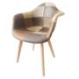 Kép 4/4 - TERST Dizájnos fotel,  patchwork/bükk