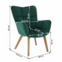Kép 13/15 - FONDAR Dizájnos fotel,  smaragd Velvet anyag/tölgy