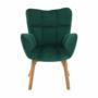 Kép 14/15 - FONDAR Dizájnos fotel,  smaragd Velvet anyag/tölgy