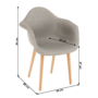 Kép 2/10 - KADIR Fotel,  anyag szürke/bükk [NEW TIP 4]