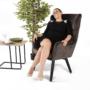 Kép 25/26 - TENAL Dizájnos fotel,   szürkésbarna TAUPE Velvet anyag