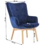 Kép 19/19 - FODIL Dizájnos fotel,  kék Velvet anyag