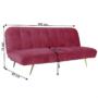 Kép 4/15 - RODANA Széthúzhatós kanapé,  málna Velvet anyag/gold króm-arany