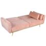 Kép 2/25 - HORSTA Széthúzhatós kanapé,  rózsaszín Velvet anyag/gold króm-arany