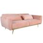 Kép 3/25 - HORSTA Széthúzhatós kanapé,  rózsaszín Velvet anyag/gold króm-arany