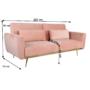 Kép 7/25 - HORSTA Széthúzhatós kanapé,  rózsaszín Velvet anyag/gold króm-arany