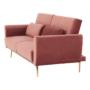 Kép 9/25 - HORSTA Széthúzhatós kanapé,  rózsaszín Velvet anyag/gold króm-arany