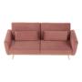 Kép 15/25 - HORSTA Széthúzhatós kanapé,  rózsaszín Velvet anyag/gold króm-arany