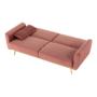 Kép 16/25 - HORSTA Széthúzhatós kanapé,  rózsaszín Velvet anyag/gold króm-arany