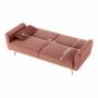 Kép 18/25 - HORSTA Széthúzhatós kanapé,  rózsaszín Velvet anyag/gold króm-arany