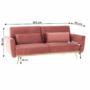 Kép 19/25 - HORSTA Széthúzhatós kanapé,  rózsaszín Velvet anyag/gold króm-arany