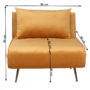 Kép 7/27 - MILIN Fotel ágyfunkcióval,  mustár Velvet anyag/gold króm arany