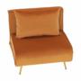 Kép 10/27 - MILIN Fotel ágyfunkcióval,  mustár Velvet anyag/gold króm arany