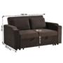 Kép 24/24 - ZAMBA Széthúzhatós kanapé,  barna Velvet anyag