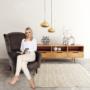 Kép 16/17 - BELEK design füles fotel,  Velvet anyag barna/minta Terra