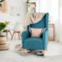 Kép 3/20 - BREDLY Kényelmes fotel,  türkíz/bükk
